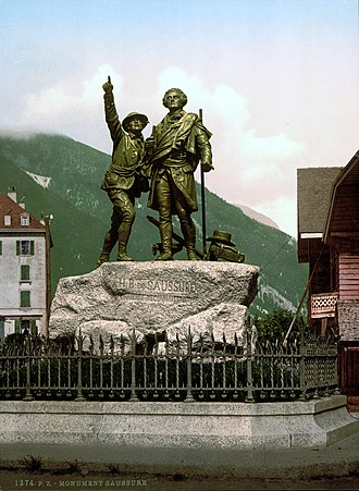 Chamonix - Horace-Benedict de Saussure, with Jacques Balmat (left) who points towards the summit of Mont Blanc, Monument at Chamonix.
