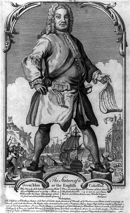 1740 political cartoon depicting Walpole as the Colossus of Rhodes, alluding to his reluctance to engage Spain and France militarily The Stature of a Great Man or the English Colossus cph.3b03411.jpg