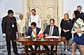 The Vice President, Shri M. Venkaiah Naidu and the President of Malta, Ms. Marie-Louise Coleiro Preca witnessing the signing of MoU between India and Malta on Tourism Cooperation, at San Anton Palace, Halbalzan, Malta.JPG