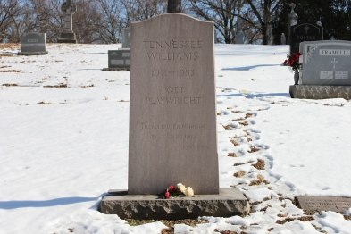 The grave of poet and playwright Tennessee Williams in Calvary Cemetery, St. Louis, Missouri