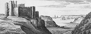 Pennard Castle - A depiction of the castle from the north-east in 1741