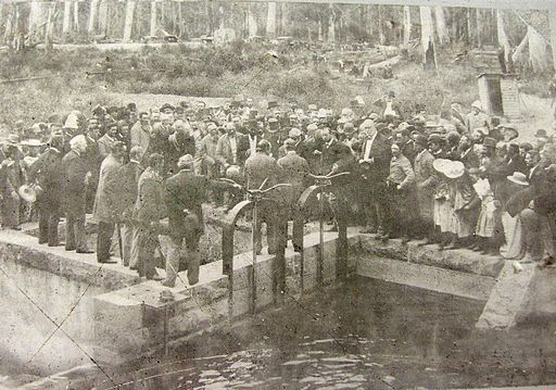 The opening of the dam
