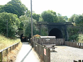 Grosmont Tunnel - The tunnels at Grosmont Station; the original tunnel is on the left