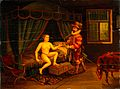 The use of the chastity belt. Oil painting by H. M. Hayman. Wellcome V0017616.jpg