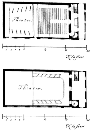 "Theater auf der Wieden - Floorplan of the ground level and first balcony level, from 1789.  ""Klafter"" denotes a unit of measure, about 1.9 meters. From the State Archives of Upper Austria in Linz"