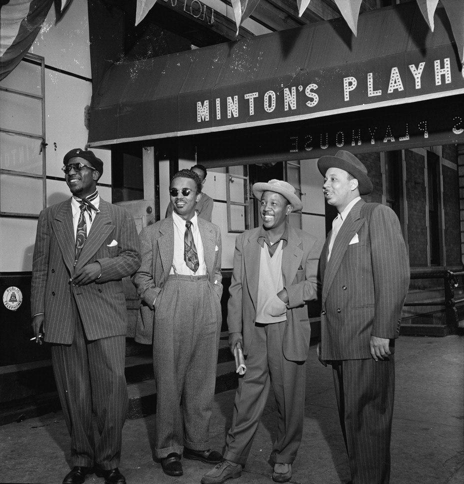 Thelonious Monk, Howard McGhee, Roy Eldridge, and Teddy Hill, Minton%27s Playhouse, New York, N.Y., ca. Sept. 1947 (William P. Gottlieb 06201).jpg