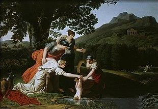 Teti immerge il figlio Achille nelle acque del fiume Stige, opera di Antoine Borel