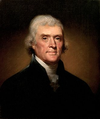 "President Thomas Jefferson wrote in 1802 of ""a wall of separation"". Thomas Jefferson by Rembrandt Peale, 1800.jpg"