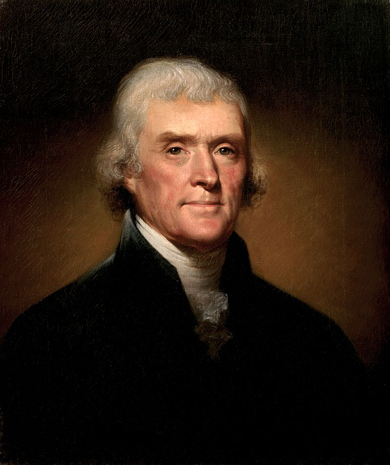 Painting of Jefferson wearing fur collar by Rembrandt Peale, 1800