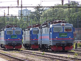 Railway electrification system - Electric locomotives under the wires in Sweden.