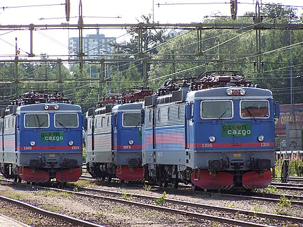 Electric locomotives under an overhead line in Sweden Three engines of type Rc4.jpg