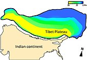 Graphic showing when regions of the Tibetan Plateau reached their present-day elevation