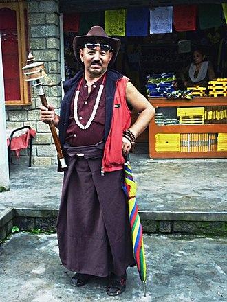 Buddhist pilgrimage - Tibetan pilgrim, Rewalsar Lake, Himachal Pradesh