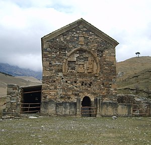Ingushetia - Ingush pre-Islamic beliefs. Temple Tkhabya-Yerd (temple of 2000) was initially a cuboid cyclopean masonry structure, which was rebuilt during the spread of Christianity in Ingushetia. The rebuilt wall was done with smaller stones shown at the entrance side.