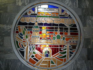"Tobolsk - Stained glass window dedicated to Tobolsk at the station ""Rechnoy Vokzal"" of Novosibirsk Metro"