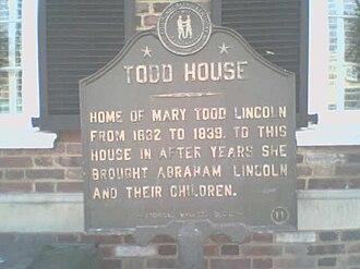 Mary Todd Lincoln House - Image: Todd House Lexington kentucky marker