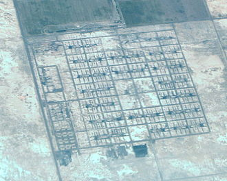 The remains of the camp as seen from 20,000 feet in 2009 TopazInternmentCampUtahAerialByPhilKonstantin.jpg