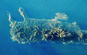 Lefka Ori - Image: Topography Variations of Western Crete, Greece, as seen from Space