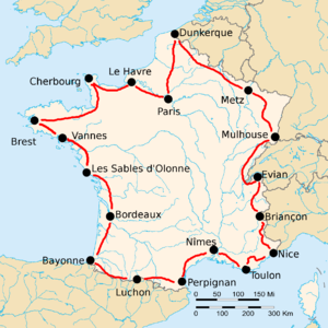 Route of the 1925 Tour de France followed counterclockwise, starting in Paris