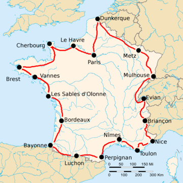 Map of France with the route of the 1925 Tour de France