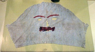 "Halloween costume - An early 20th-century Irish Halloween mask (a ""rhymer"" or a ""vizor"") displayed at the Museum of Country Life."
