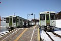 Trains at Morimiyanohara Station - Feb 22, 2011.jpg
