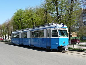 Trams in Vinnytsia - The most common fleet of Vinnytsia trams are ex-Zurich Mirage trams