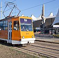 Tram in Sofia in front of Central Railway Station 2012 PD 080.jpg
