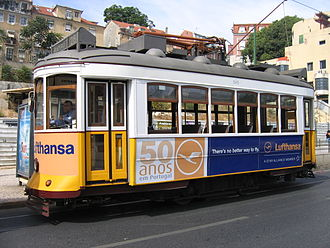 A Lufthansa advertisement in Lisbon. Trams in Lisbon 3.jpg