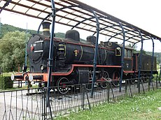 The steam locomotive parked in Trebnje, Sevnica