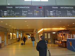 Trenton Transit Center - Train information boards at Trenton Station 2009