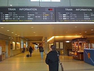 Trenton Transit Center - Train information boards at Trenton station, 2009