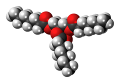 Space-filling model of the triheptanoin molecule