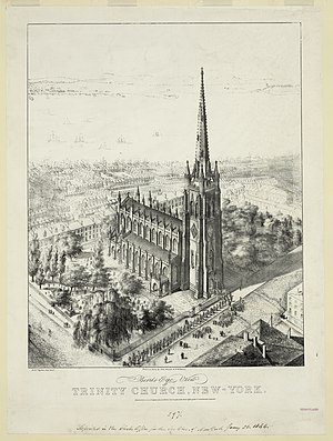 Trinity Church (Manhattan) - Bird's-eye view of Trinity Church, 1846