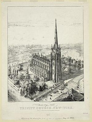 Trinity Church (Manhattan) - Bird's-eye view of Trinity Church, 1846