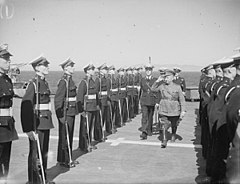 Turkish Military Mission With Western Mediterranean Fleet. 9 April 1943, on Board HMS Formidable, the Turkish Military Mission; Led by General Salih Omurtag and Consisting of 18 Senior Turkish Army and Air Forc A16199.jpg