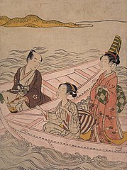 Two Beauties and a Man in Boats