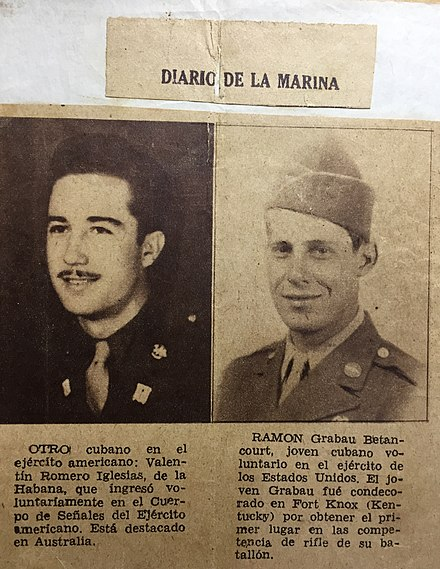 Cuban soldiers who bravely fought with the USA Army in World War Two. Two Cuban WWII Soldiers.jpg