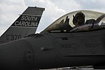 U.S. Air Force Lt. Col. Walter Meares, an F-16 Fighting Falcon pilot with the 169th Fighter Wing, South Carolina Air National Guard, arrives at McEntire Joint National Guard Base, S.C., Aug. 22, 2012, after 120822-F-WT236-042.jpg