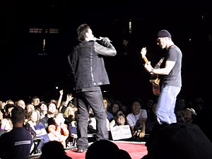 Elevation (song) - Bono and the Edge in Kansas City during Elevation Tour in 2001