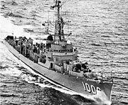 USS Dealey (DE-1006) underway in the Atlantic Ocean on 28 May 1954