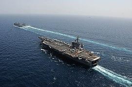 USS Dwight D. Eisenhower approaches USNS Bridge. (8592539696).jpg