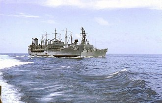 Military history of Australia during the Vietnam War - HMAS Hobart refueling from a United States Navy tanker while operating off Vietnam in 1967