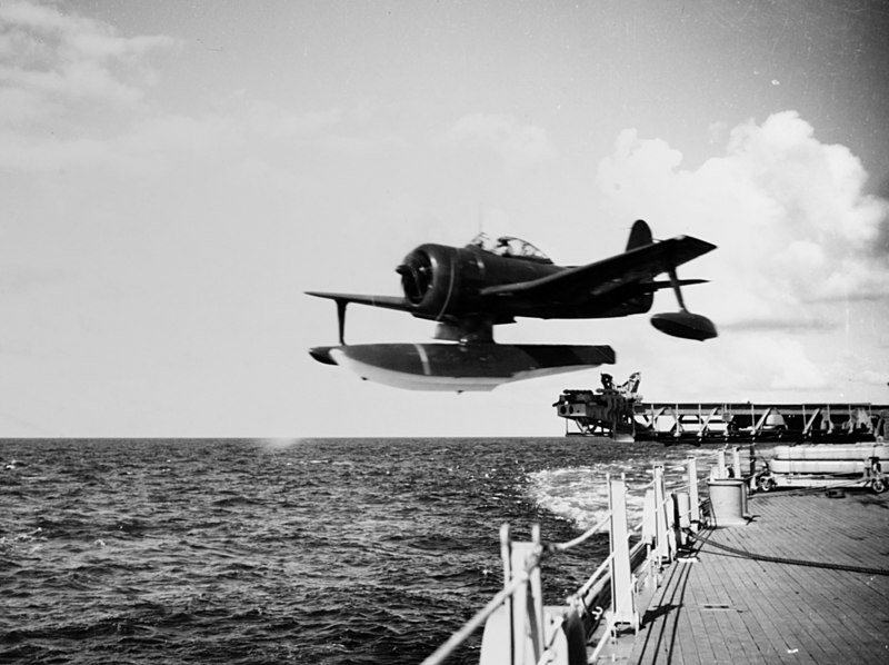 File:USS Iowa (BB-61) launches SC-1 Seahawk in July 1947.jpg