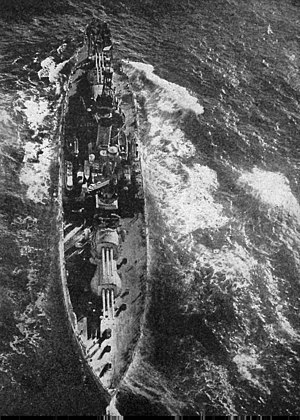 USS Pennsylvania (BB-38) - An aerial view of Pennsylvania.