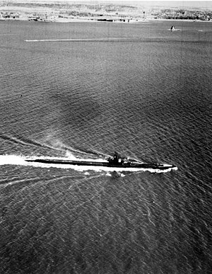 Pilotfish (SS-386) training in the Portsmouth area, c. late 1943.
