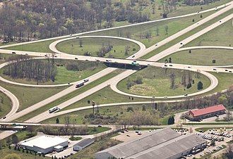 U.S. Route 131 - The former cloverleaf interchange between US 131 and Stadium Drive west of Kalamazoo in 2010 before conversion to a single-point urban interchange in 2015