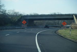 Westbound U.S. Route 422 at the exit for Stowe...