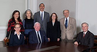 United States Commission of Fine Arts - Members of the Commission of Fine Arts in February 2015.  Standing, left to right:  Standing, left to right: Mia Lehrer, Liza Gilbert, Philip Freelon, Elizabeth K. Meyer, Alex Krieger. Sitting, left to right: Elizabeth Plater-Zyberk, Earl A. Powell III, Thomas Luebke (the Secretary of the Commission, a staff member and chief executive officer of the agency).