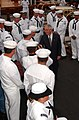 US Navy 040625-N-2568S-001 Secretary of the Navy, Gordon R. England greets the crew of USS Constitution during his visit to Boston.jpg